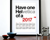 2017 calendar, new year, Helvetica poster print, retro typography, Mid Century Modern, office art, kitchen art - Helvetica wall calendar A3