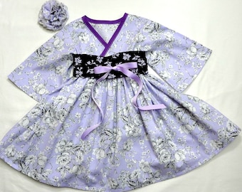 Boutique Little Girls Dresses - Toddler Dress - Purple  - Toddler Clothes - Kimono Dress - Birthday Dress -  Mother's Day - 2t to 7 yrs