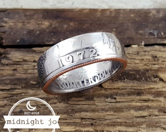 1972 Coin Ring US Quarter Coin Ring Double Sided Coin Ring