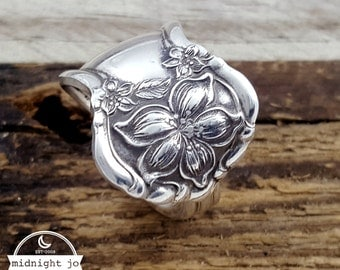 Spoon Ring Orange Blossom Silver Plate Spoon Jewelry Flatware Ring