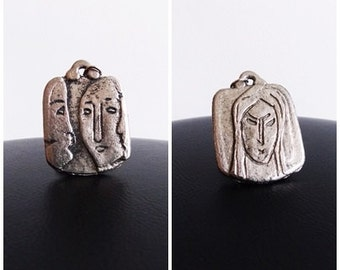 Modernist 1960s 70s metal abstract face necklace / two sided human figures necklace/  Bernard Chaudron mid century pendant