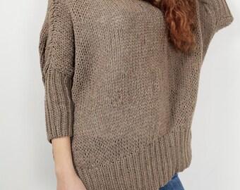 OVERSIZED Hand knit Woman sweater/ Knit sweater kimono sleeve mocha pullover wool sweater Mocha