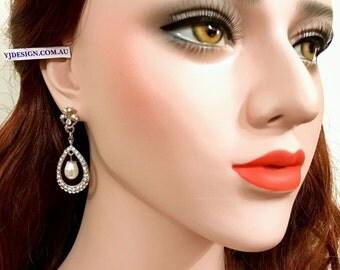 Pearl Drop Bridal Earrings, Teardrop Dangle Wedding Earrings, Swarovski Crystal Bridal Jewelry, Victorian Wedding Jewelry, HELENA