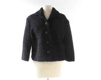 Vintage Astrakhan Jacket | Faux Fur Coat | 1960s Jacket | Cropped Jacket | Medium M