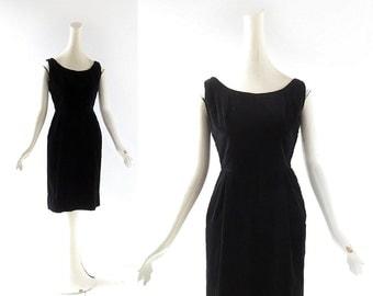 1950s Wiggle Dress | Black Velvet Dress | 50s Dress | XXS