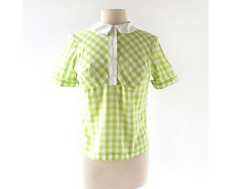 Vintage 1960s Blouse | Lime Ice | Gingham Top | Bobbie Brooks | XS S