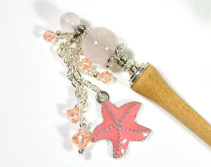 "Starfish Hairstick Beach Hair Pin Dangle Hair Stick Gypsy Hair Charm Japanese Hair Chopstick Seastar Hair Pin Hair Bead - ""Morning Star"""