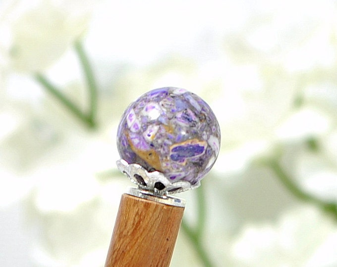 "Japanese Hair Stick Purple Hairstick Hair Beads Chinese Hair Pin Purple Bun Pin Hair Wood Hairstick Chopstick For Sale - ""Anticipation"""