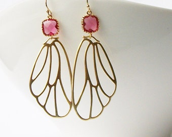 Ruby Garnet Butterfly Earrings