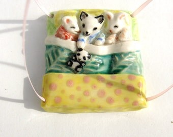 Baby Fox Bunny and Mouse Miniature Animals Handmade Porcelain Ornament