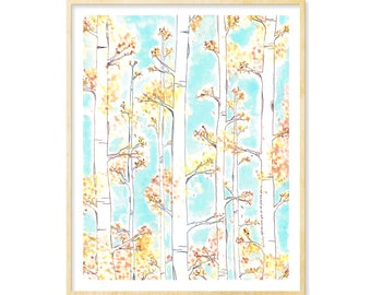 Birch Forest, Landscape Print, Woodland Decor, Enchanted Forest, Living Room Art, Watercolor Landscape, Autumn, 11x14 Art, Birch Trees Print