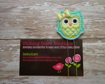 Owl Felt Planner Clips - Mint Green and Light Yellow Woodland Forest Owl Paper Clip Or Bookmark - Animal Accessories For Books