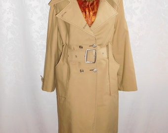 Khaki Tan Cotton Poplin Trench Coat Size Small Vintage 70s