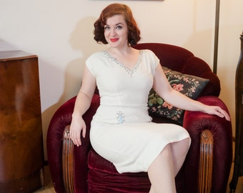 Vintage 1950s Dress - White Cotton Linen 50s Wiggle Dress with Pale Blue Trim, Rhinestones & Studs