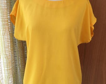 Vintage 80s Bright Yellow Boxy Blouse Perfect Closet Staple