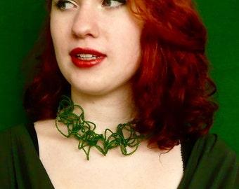 KELP Choker, Green Wavy Choker, Green Glass Necklace, Multy layered necklace, very long necklace, collar choker, Boho Choker, Modern Choker