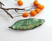 Green Patterns and Dots Copper Enameled Pin, Copper Enameled Brooch, Handmade Metal Leaf with Vitreous Enamel, WillOaks Studio Flora Series