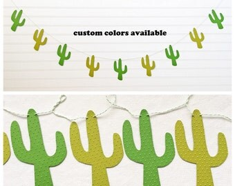 Cactus Garland - 5 Inches Tall - Fiesta Decorations Cactus Banner Fiesta Party Cinco De Mayo Green Cacti Succulent Garland Western Party