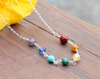 Sterling silver Chakra necklace ~ 7 chakras necklace ~ Yoga jewelry ~ Chakra jewelry ~ Rainbow necklace ~ Namaste ~ Meditation necklace
