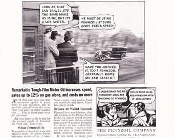1930s Pennzoil Motor Oil Automobile Advertisement - Vintage Antique 30s Era Art Ad for Framing