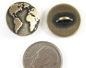 TierraCast Pewter Buttons-Brass Oxide Earth Map (2 Pcs)