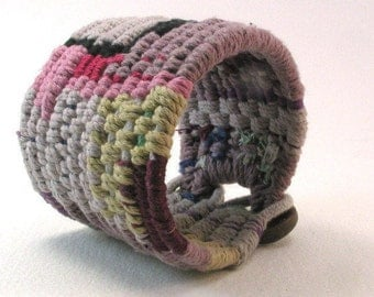 extra wide tapestry cuff woven bracelet fishtail weave string cuff 4123