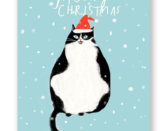 Funny Christmas Card - Cat - Meowy Christmas - Christmas Cat Card - Santa Cat