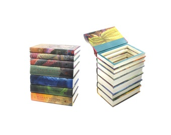 Harry Potter 7 Book Stack BOX Wedding Card Holder Booksafe Handmade All Seven Books - Dust Jackets On + Magnet Closure - READY To SHIP