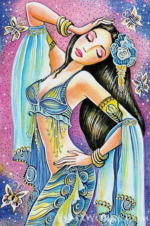 Beautiful belly dancer art, mermaid art, belly dance, feminine beauty, bollywood dance, feminine decor, beauty painting print 8x12+