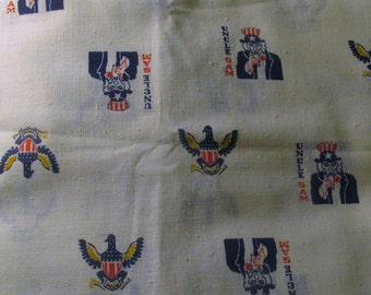 Vintage Uncle Sam Americana Fabric Patriotic Fabric Political Eagle Grand Seal Bicentennial Fabric 2.2 Yards 1970s 70s