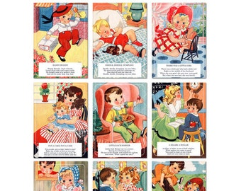 Digital | Print at Home | 5x7 Mother Goose Nursery Rhyme Flash Cards Vintage Retro Style