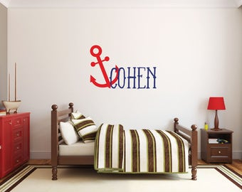 Nautical nursery decor, Personalized name wall decal, Anchor decor, Nautical wall decal, Anchor wall decal, Wall stickers for bedroom DB137