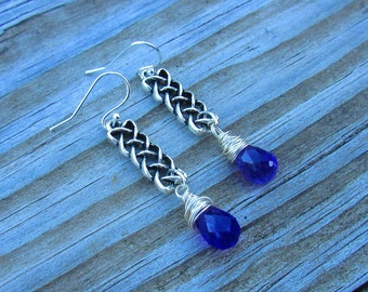 Wire Wrapped Lavender Celtic Knot Dangle Earrings.