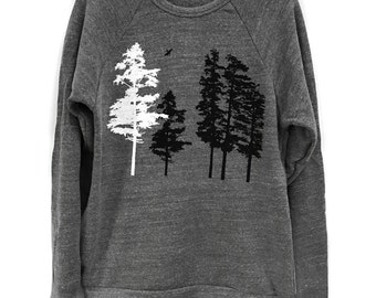 Hemlock Tree sweatshirt, Grey raglan pullover, Tree Shirt, Men's clothing, forest sweater, gray nature clothing, gift for him, gift for her