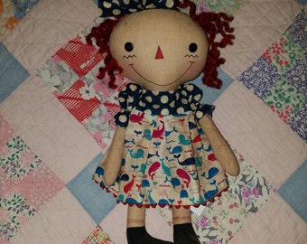 Americana theme Raggedy cloth doll, Handmade doll by Homespun from the Heart, one of a kind doll