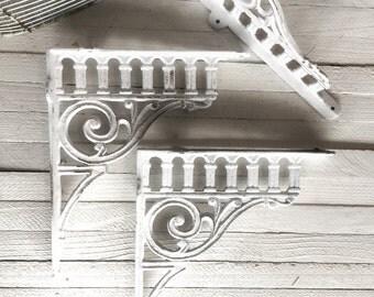 Large Cast Iron Brackets, Victorian Decor, Rustic Barnyard, French and Garden Decor, Farmhouse Style, Open Shelf Cabinets