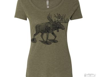Womens MOOSE (in Snow Shoes) TriBlend Scoop Neck Tee - T Shirt S M L XL XXL (+Colors)