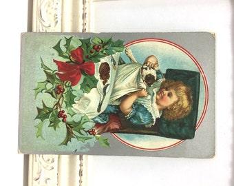 Vintage Christmas Postcard, Vintage Postcard, Christmas Card, Christmas Ephemera, Girl Hiding Puppy at Kitchen Table, Holiday Card, 1911