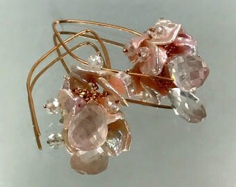 Rose Gold Fill Elongated Earrings Rose Quartz Blush Keishi Pearl Wire Wrap Rose Gold Earrings Simple Everyday Earrings, Bohemian Jewelry
