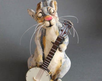 Squirrel with Banjo Ceramic Animal Sculpture - Any Requests?