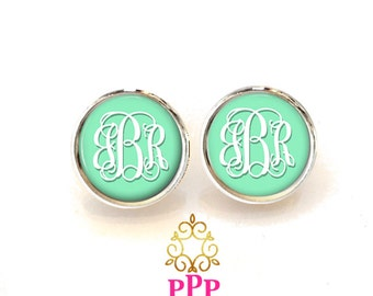 Monogram Stud Earring, Monogram Jewelry, Mint Monogram Earrings, Personalized Earrings  (501)