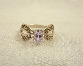 Vintage Sterling Silver Filigree Cubic Zirconia Ring Size 8