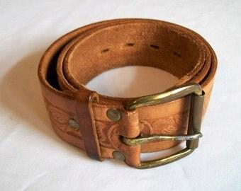 Vintage Belt, Western Belt, Leather Belt, Cowboy Belt, Brown Leather Belt, Fancy Cowgirl Belt