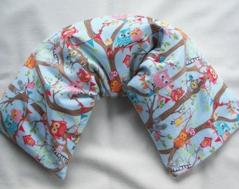 Owls Therapy Pack - Microwave or Freezer Pack - Heat or Cold Therapy - Removable Cotton Flannel Cover - Rice Bag