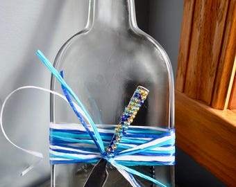 Mount Gay Slumped Upcycled Rum Bottle with Beaded spreader