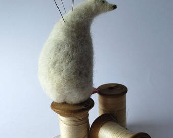 Original Needle Felted Polar Bear  Pin Cushion