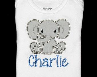 Custom Personalized Applique ELEPHANT and NAME Bodysuit or Shirt - Gray and Capri Blue