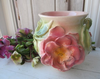Cabbage Rose Ginger Jar Shaped Vase