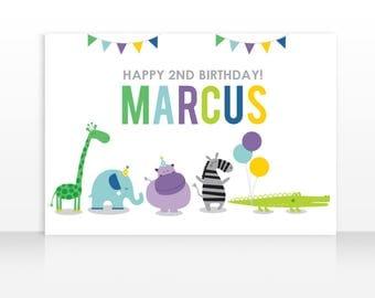 Zoo Animals Birthday, Zoo Animals Theme, Modern Animals Backdrop, Animals Birthday Poster, HIGH RESOLUTION FILE 60x40 inches