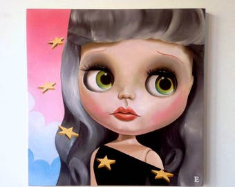 Blythe Doll Oil Painting on wood panel Lowbrow Pop Art big eyes art